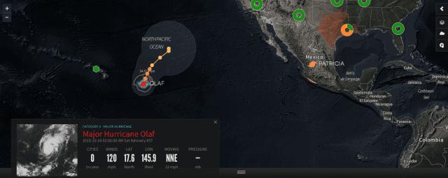 orkaan olaf grote oceaan