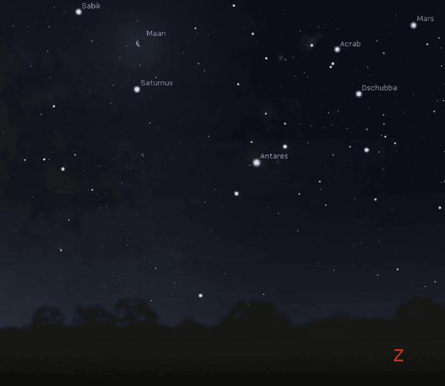 De maan 3 graden ten noorden van Saturnus