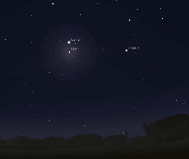 De maan 3 graden ten zuiden van Jupiter.
