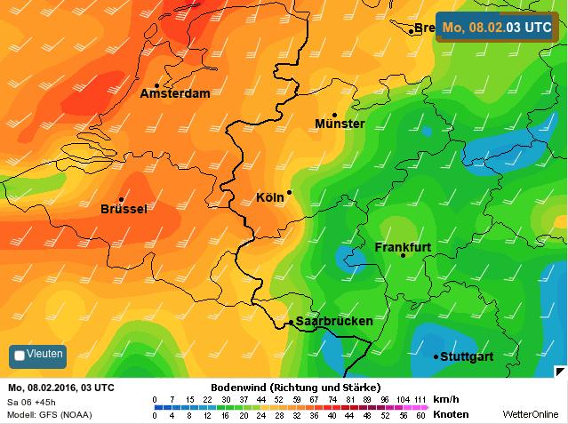 gemiddelde windsnelheid tijdens storm