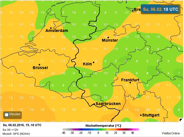 temperatuurkaart zaterdag
