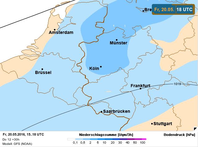 neerslaghoeveelheid op 20 mei 2016
