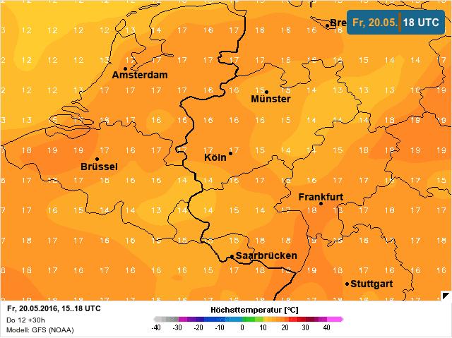 temperatuur op vrijdag 20 mei 2016