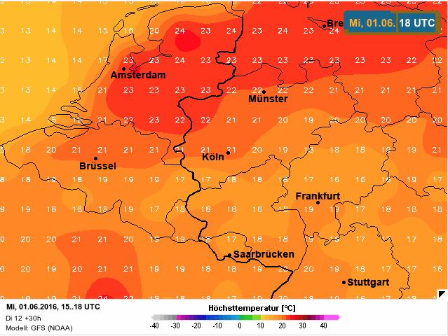 temperatuur woensdagnamiddag 1 juni 2016