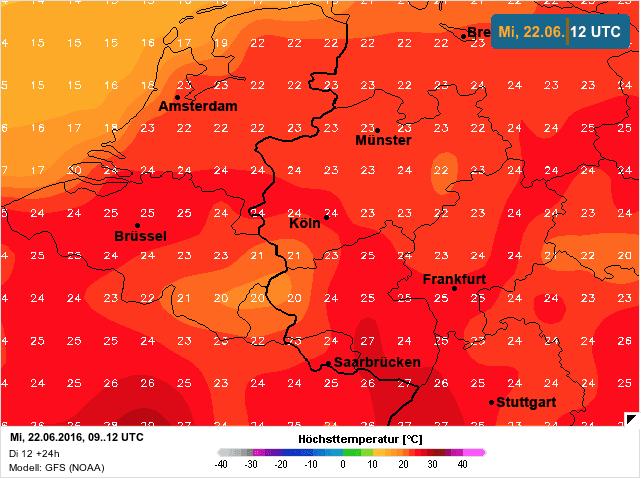 temperatuur op woensdag 22 juni