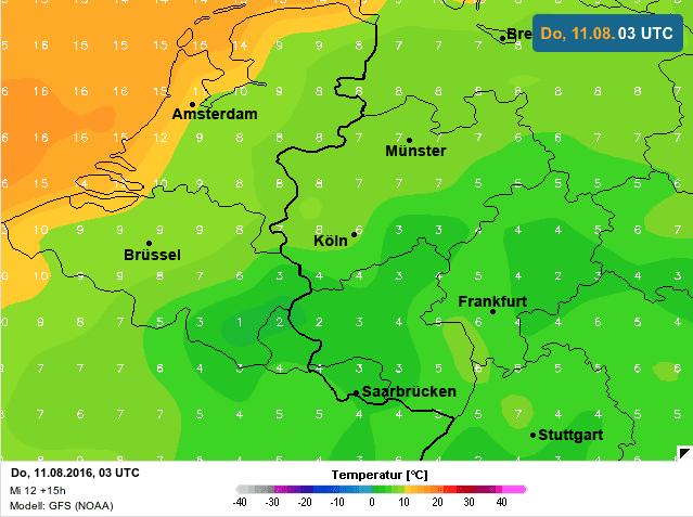 gemiddelde temperatuur naar donderdag