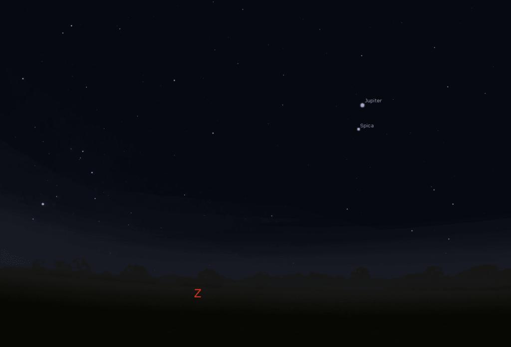 Jupiter ten noorden van Spica op 1 feb om 06.50