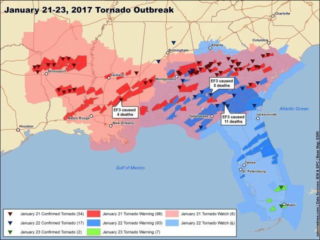 tornado outbreak januari 2017