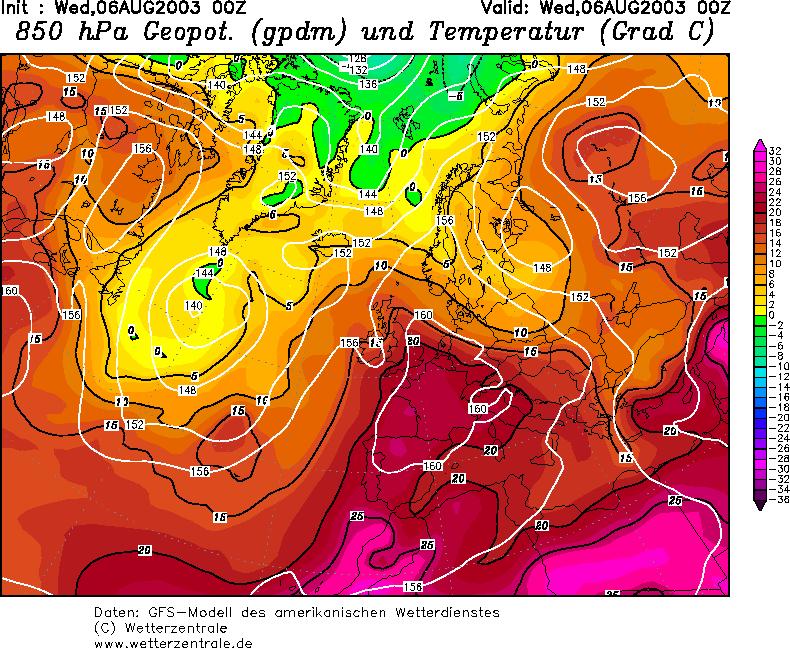 Het hete weer werd veroorzaakt door een zuidelijke aanvoer van zeer warme lucht. Op 1,5 km hoogte steeg het kwik tot meer dan 20 graden. Aan de grond was het dus een pak warmer met recordtemperaturen van 40 graden op sommige plaatsen in Europa tot gevolg.