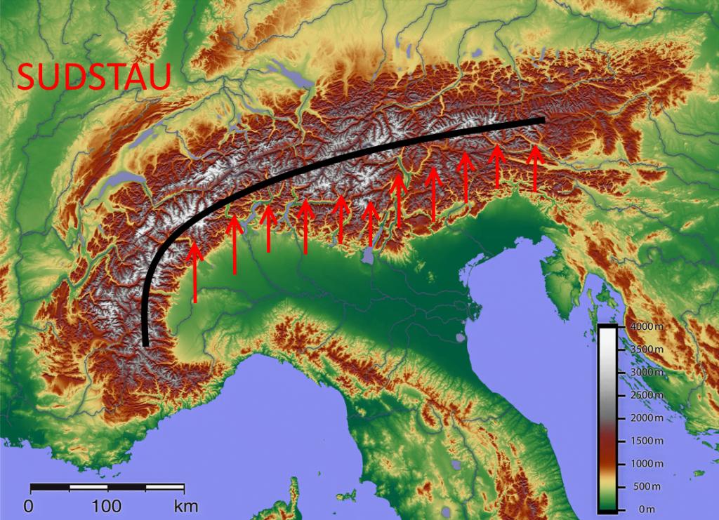 Südstau in de Alpen