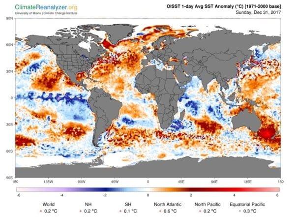 Temperatuur afwijking van het zeewater.