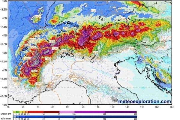 Veel sneeuw aan de noordkant