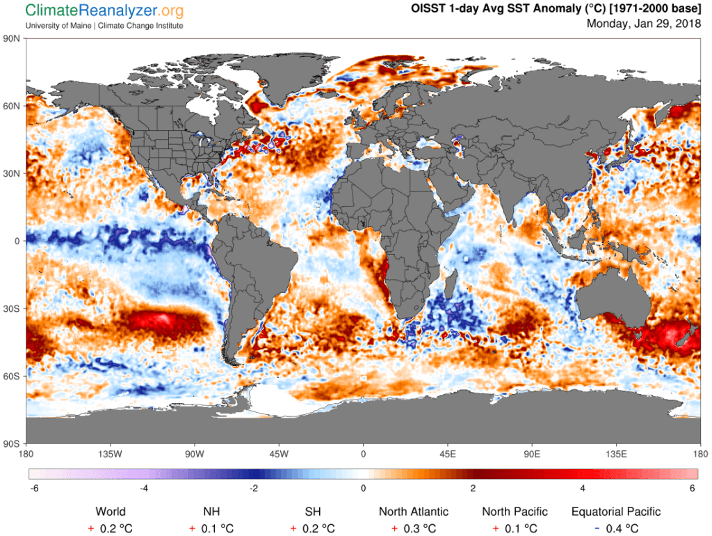 Zeewatertemperatuurafwijking.