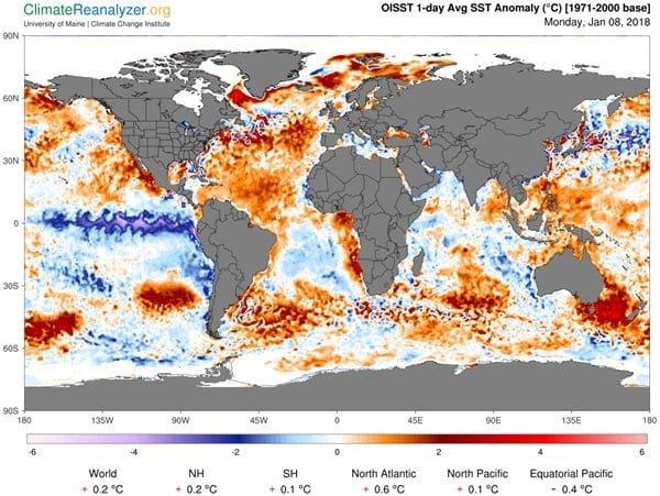 De temperatuurafwijking van het zeewater