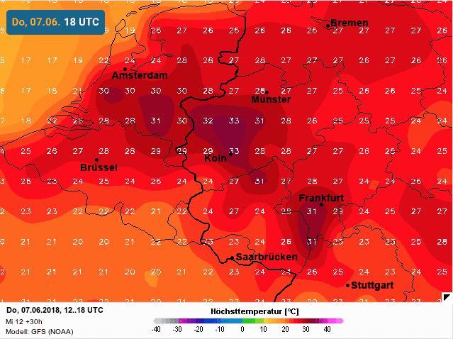 lokaal tropische temperaturen op donderdag