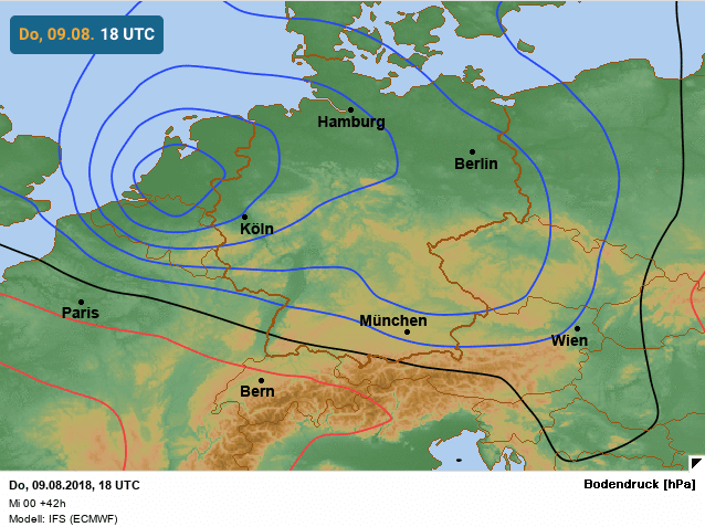 situatie thermisch lagedrukgebied europees weermodel avond