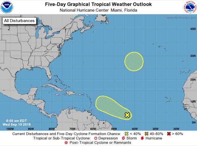 tropische depressie ten westen van azoren