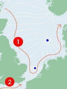 getijdengolven in de noordzee