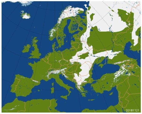 Actuele sneeuwdekomvang in Europa.