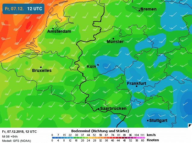 foto3 gemiddelde windsnelheid vrijdag volgens GFS