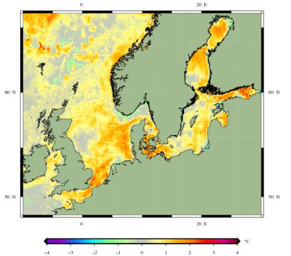 Zeewatertemperatuur afwijking voor de Noordzee.