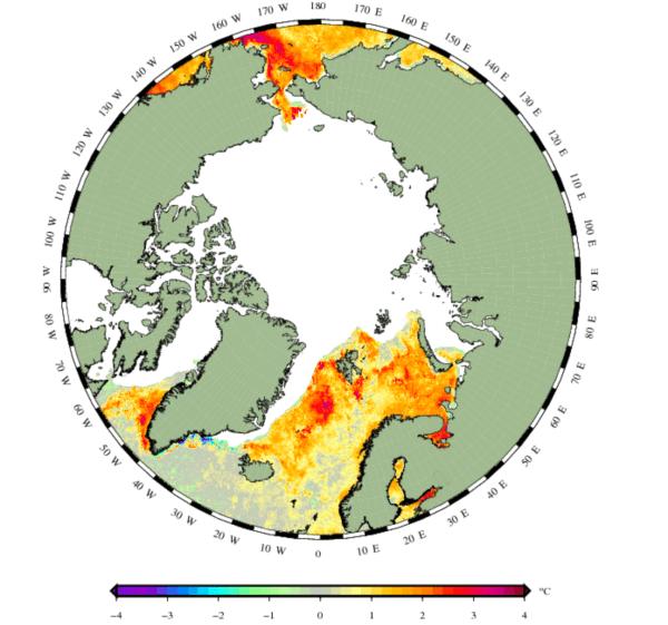 Zeewatertemperatuurafwijking noorden.