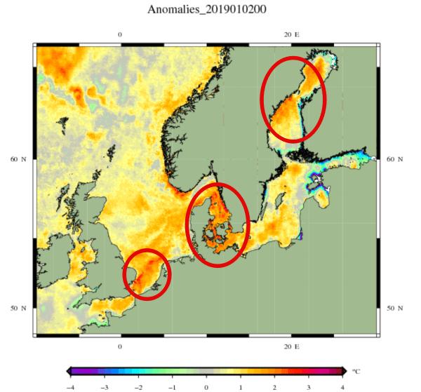 Afwijking zeewatertemperatuur Noord-West Europa.