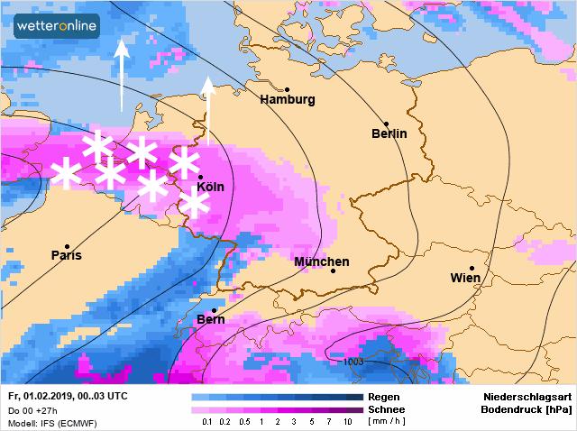 Vannacht trekt een sneeuwzone van zuid naar noorde over de Benelux.