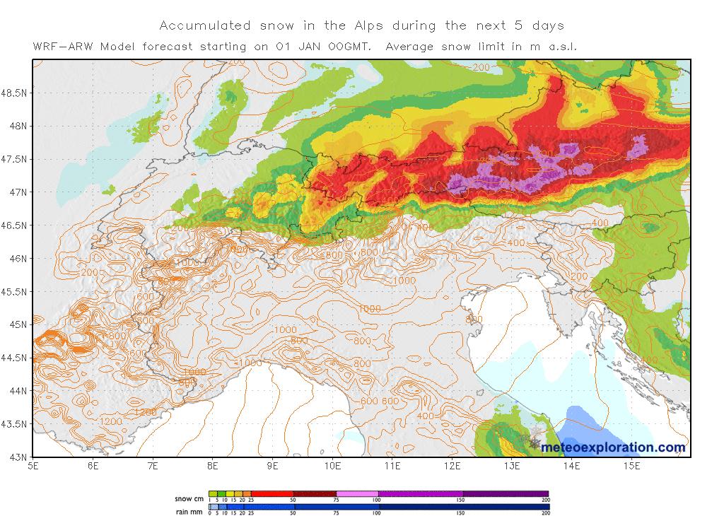 Sneeuwverwachting voor de Alpen komende 5 dagen.