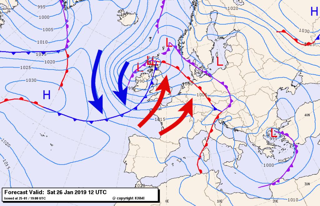 In de warme sector van een depressie dooit het vandaag en morgen in de hele Benelux.