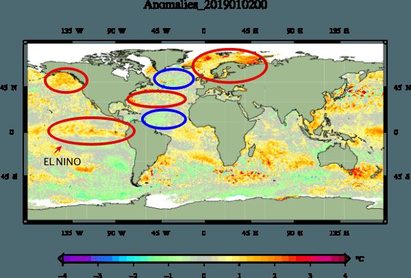 Anomalie van de zeewatertemperaturen.