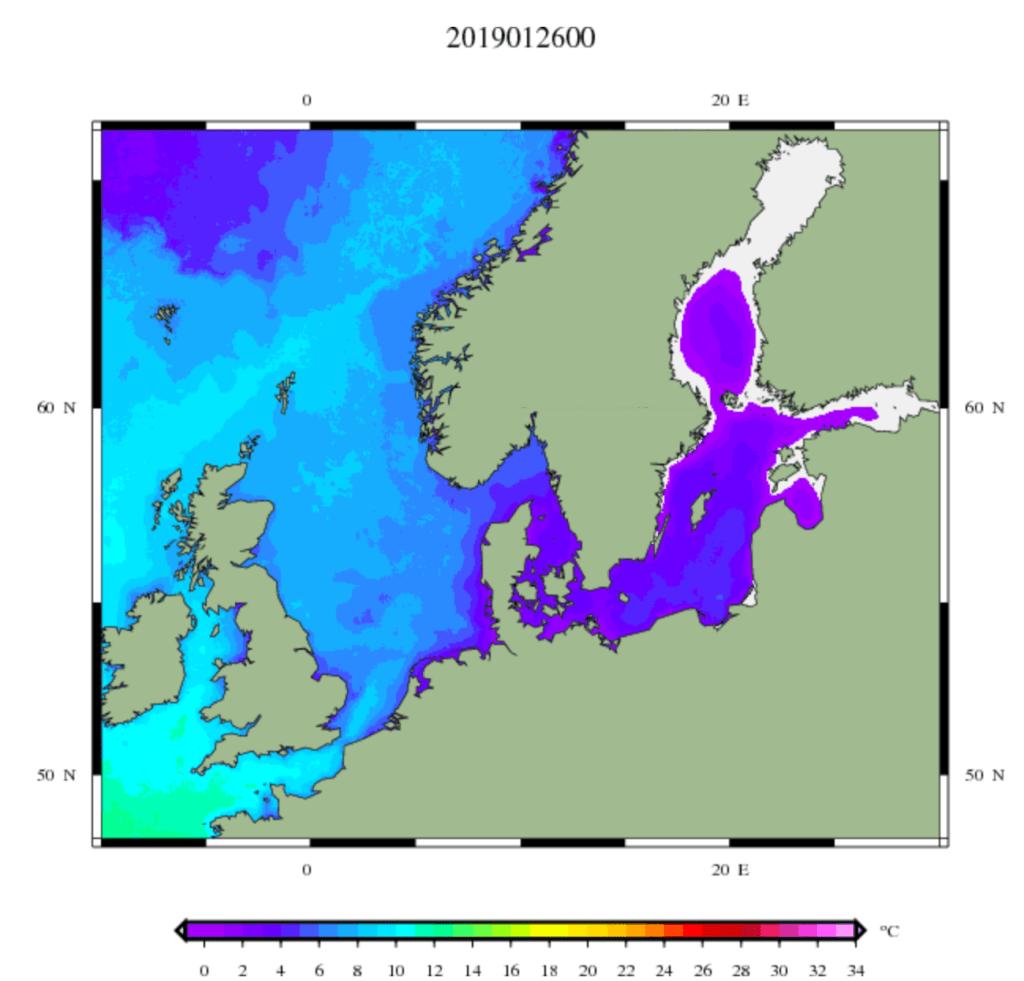 Temperatuur van het zeewater in West en Noordwest-Europa.